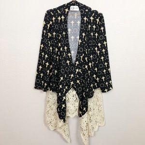 L&B Cross and Crochet Lace Waterfall Cardigan